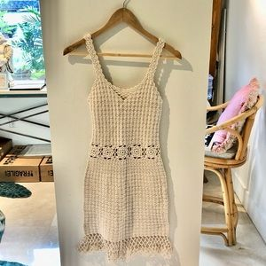 Handmade Crochet Mini Festival Dress Ivory XS/S